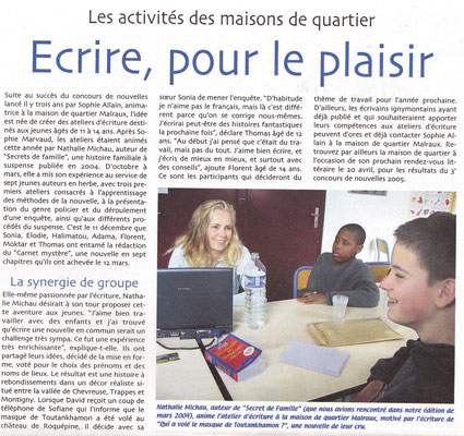 Ignymontain - avril 2005 - Article sur un atelier d'écriture pour enfant que j'ai animé. Le but : faire une nouvelle policière commune