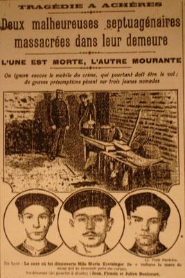 L'affaire d'Achères - Il s'agit de la Une du Petit Parisien sur l'affaire d'Achères. Les 3 suspects figurant sur la une, les frères Bénicourt, ne sont pas les coupables.