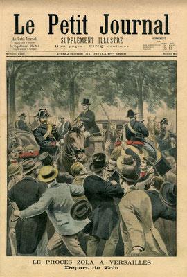 """L'affaire du """"J'accuse"""" de Zola. Cette Une du """"Petit Journal"""" nous montre la sortie mouvementé de Zola de la cour d'assises de Versailles lors de son procès."""
