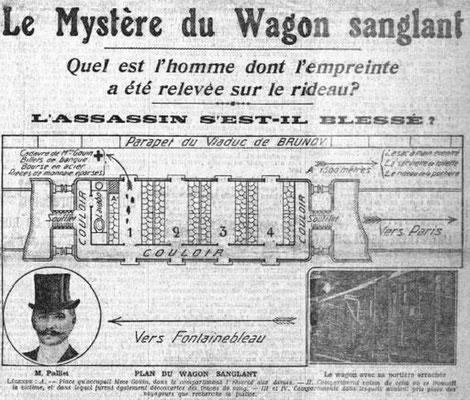 L'affaire du Wagon Sanglant - C'est mon illustration préférée. Elle est parue en 1909 dans le Petit Parisien. Elle me fait penser aux histoires d'Agatha Christie. La Une du journal propose un plan du wagon où le meurtre d'une vieille rentière a eu lieu.
