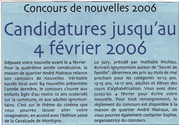 Ignymontain - décembre 2005 - Article sur un concours de nouvelles dont j'étais présidente