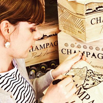Sarah Launois' artwork on champagne wooden boxes | Champagne Launois Paul @ Le-Mesnil-sur-Oger - Côte des Blancs (proche Épernay)