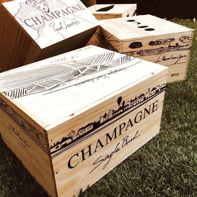 Wooden boxes for Champagne | Champagne Launois Paul @ Le-Mesnil-sur-Oger - Côte des Blancs (proche Épernay)