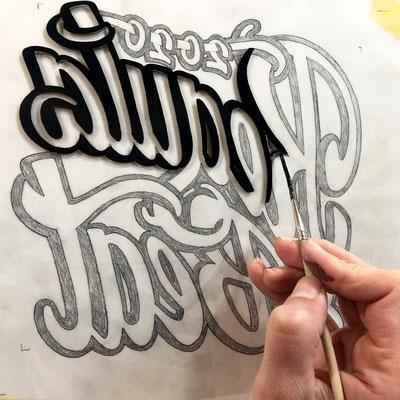 Hinterglasmalerei in Arbeit