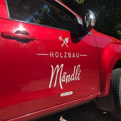 Handgemalte Fahrzeugbeschriftung für Mändli Holzbau GmbH