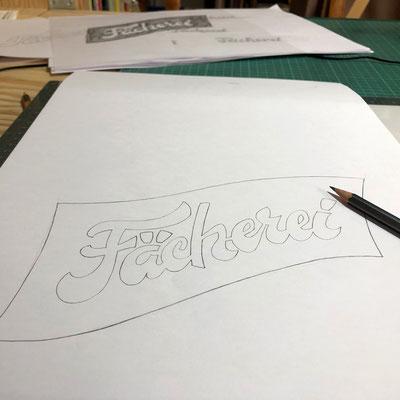 Ausarbeitung der Logo Zeichnung für Fächerei Winterthur