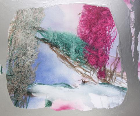 Arkadien, 2020, Aquarell, Acryl, Öl, Aluminium auf Leinwand, 140x170cm