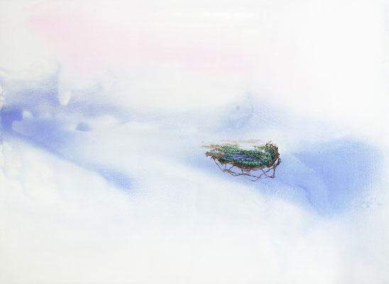 Romantic View (Hommage an  C. D. Friedrich), 2020, Aquarell, Wasserlack, Acryl auf Leinwand, 100x135cm