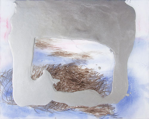 Bloemendaal - Nordsee Niederlande, 2020, Aquarell, Acryl, Öl, Aluminium auf Leinwand, 40 x50cm