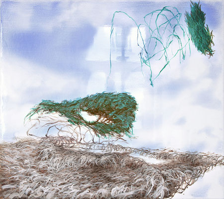 Romantic View, 2020, Aquarell, Wasserlack, Acryl auf Leinwand, 80x90cm