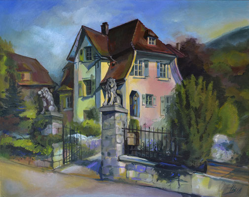 House with lions, Moutier (acrylic on canvas) 50*40
