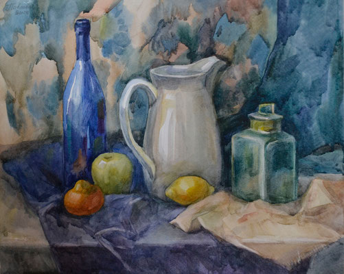 Still Life with the blue bottle (watercolor) 40*50