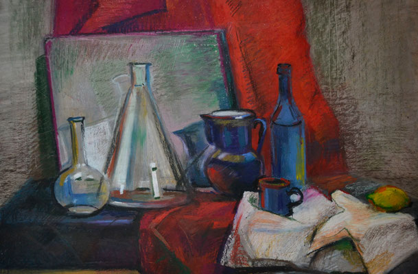Still life with the mirror (oil pastel) 40*60