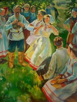 "Copy of the work of P. Kiparisov ""Songs of Little Chuvashia"" (oil) 20*30"