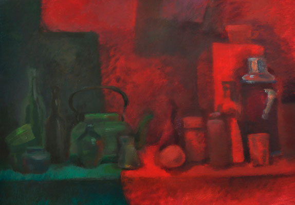 "Still life ""Green against Red"" (acrylic) 50*70"