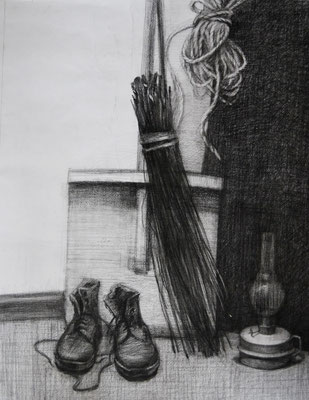 Still life with the shoes (pencil Negro) 50*60
