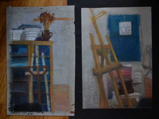 "Diptych ""Workshop"" (oil pastel) 35*50"