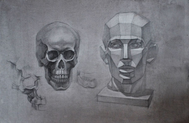 The skull and geometric head (pencil) 40*60