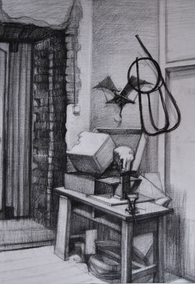 "The interior sketch (pencil ""Negro"") 45*60"