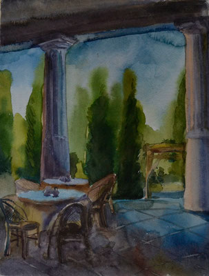 "Summer Plein Air. ""Italian Midday"" (watercolor) 30*40"