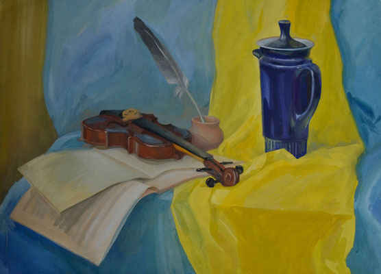 Still Life with the violin (gouache) 40*50