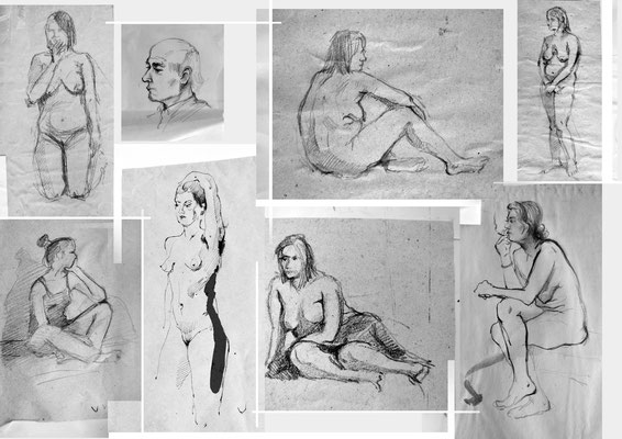 Live model sketches (pencils, ink) 40*60