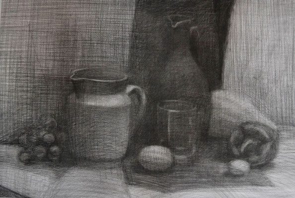 Still life with the pepper (pencil Negro) 40*55