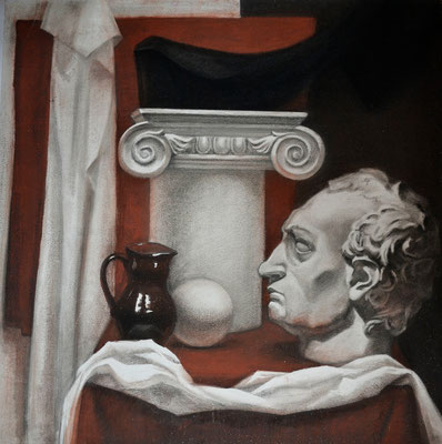 Still life with the plaster head (mixed techniques) 75*75
