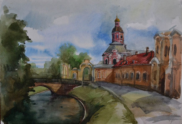 "Summer Plein Air. ""The Nevsky Monastery"" (watercolor) 30*40"