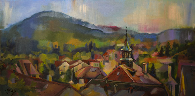 Panorama of Moutier city (acrylic on canvas) 80*40