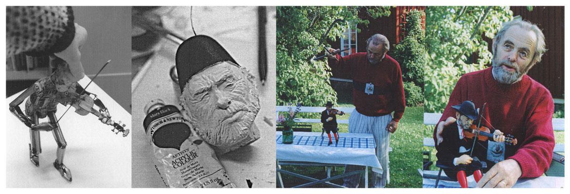 Min Pappa Åke Jansson som marionettfigur, han den fick på sin 70 års dag inkl. scen. Material: plåt, metalltråd, trä, platic padding, ackrylfärg, tyg, fiskelina, rostfri tråd.