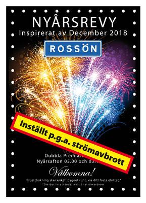 """Vi får hoppas på ett el-säkrare 2019 :-)  Det är en humoristisk ironisk """"NyårsRevy"""" affisch ....vi har haft så många strömavbrott i Rossön under december ...så det mesta har blivit inställt eller stängt under strömavbrotten.... därför är även """"Revyn"""" ..."""""""
