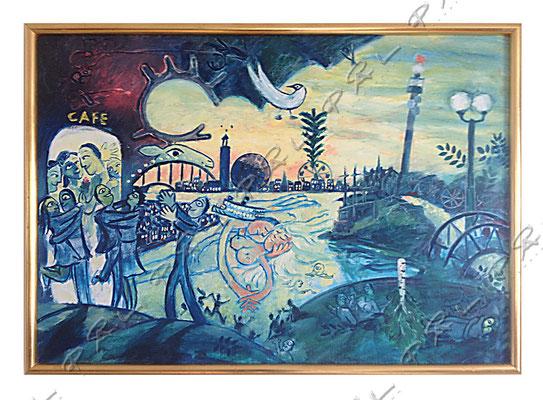 Bakgrund till annons för glasögontillverkare, inspirerad av Marc Chagall . Olja
