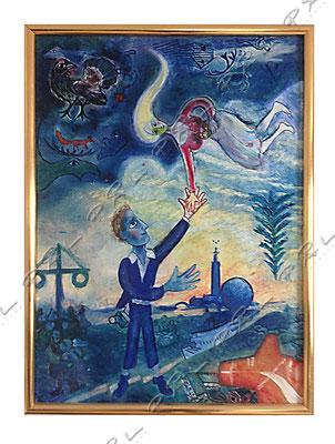 """anslag för """"Sverige turism"""", inspirerad av Marc Chagall . Olja"""