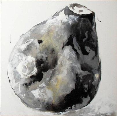 vase vitré noir sur blanc  - 70x70