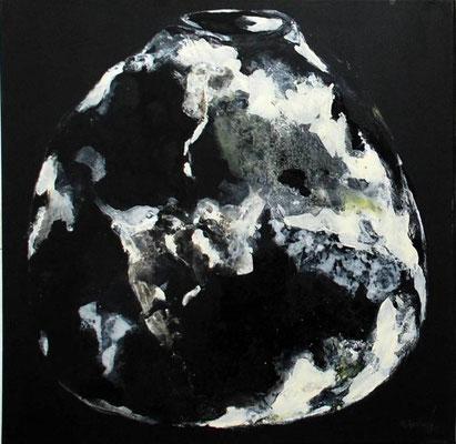 vase vitré blanc sur noir - 70x70