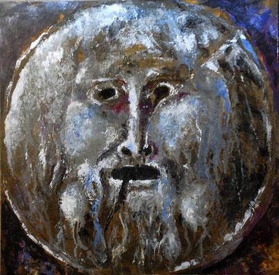 Mascherone n. 2, tech. mixte sur toile, 70x70