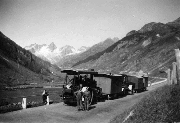 Strassenbau auf der Susten Passstrasse, ca. 1946