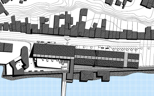 Ilustración Techo Intermodal Castro, Chiloe, Chile Arq.Francisco Martinez