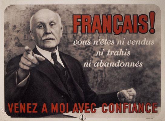 """El mariscal Philippe Pétain, líder de la Francia de Vichy, apela a los compatriotas: """"Olvídense de sus enemigos tradicionales - los nazis alemanes son nuestros amigos ahora"""". WWII Pictures"""