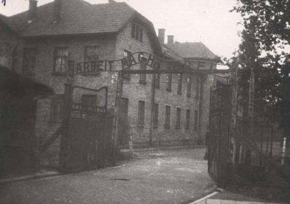 Entrada de Auschwitz con el Bloque 24 a la izquierda justo después de la puerta adonde estaba el burdel. Daily Mail