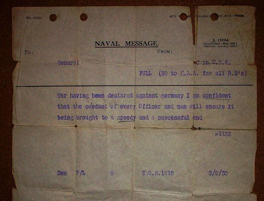 Mensaje enviado a los buques de la Royal Navy, la Marina Real británica, para informarles del inicio de la guerra contra la Alemania nazi, 3sep1939.