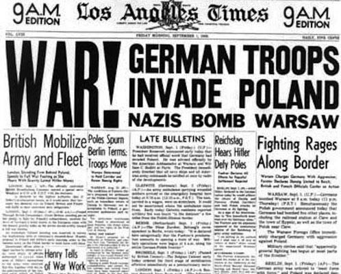 La prensa internacional se hacía eco del ataque nazi alemán a Polonia.