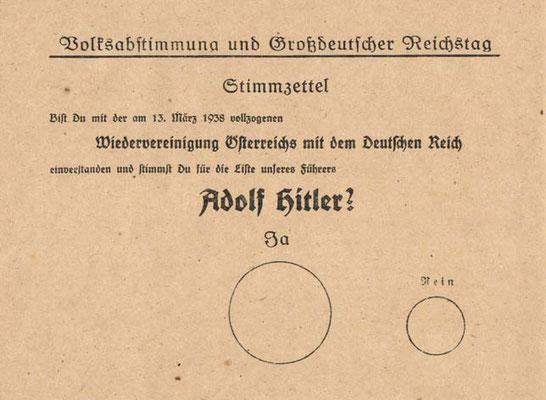 """En dicha papeleta aparecía en el centro un círculo muy grande donde marcar """"SÍ"""" y otro más pequeño a un lado y a la derecha donde marcar """"no"""", incitando claramente al voto a favor de la unificación."""