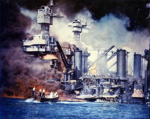 El acorazado USS West Virginia y el acorazado USS Tennessee tras el ataque, U.S. Navy - U.S. Navy photograph C-5904 from the U.S. Navy Naval History and Heritage Command.