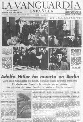 """La muerte de Adolf Hitler en """"La Vanguardia"""". El Confidencial"""