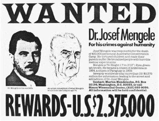 Cartel de búsqueda de Josef Mengele publicado por el Centro Simon Wiesenthal en el año 1985.