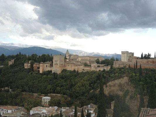 Blick auf die Alhambra bei Wetter