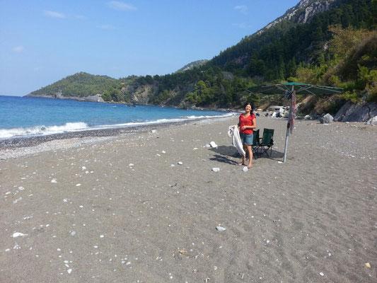 am Strand von Sarakoniki