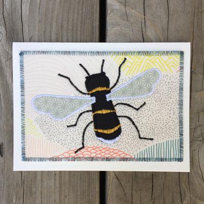 Bumble Bee Fiber Art Card